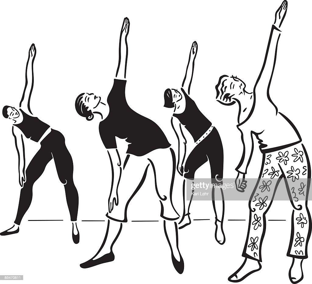 Women stretching : Stock Illustration