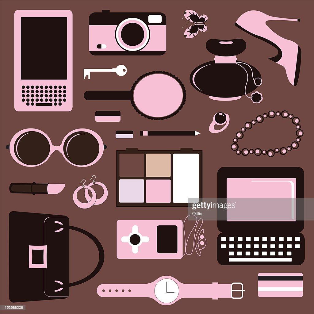 Womens accessories : Stock Illustration