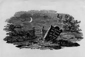 Wood engraving by Thomas Bewick of a country gravestone