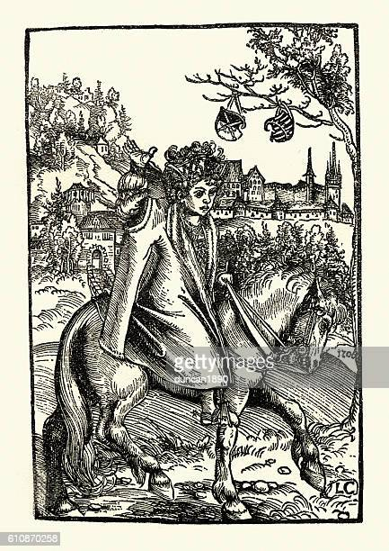 Woodcut of a woman on a horse by Lucas Cranach