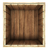 wooden crate. 3d illustration isolated on white