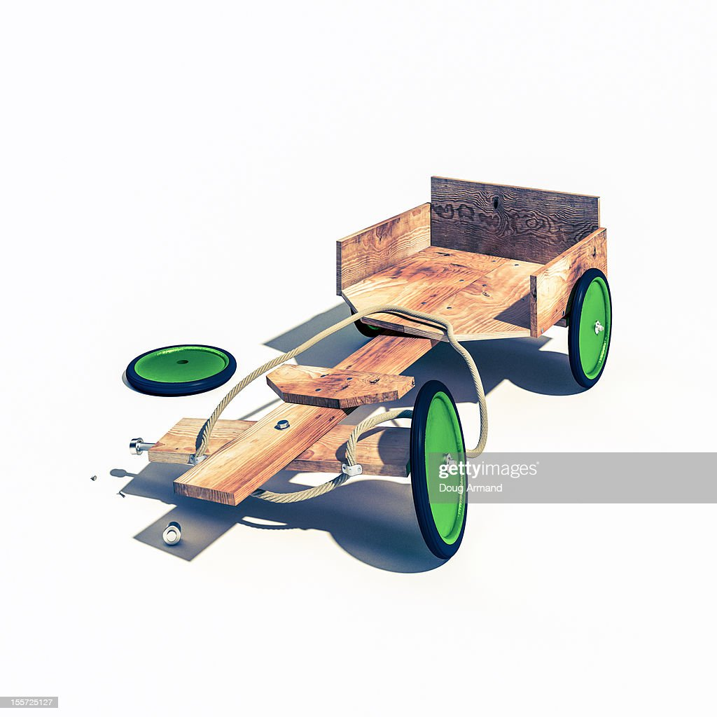 Wooden Go Cart with a broken wheel. : Stock Illustration