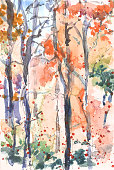 Original watercolor painting of a woodland forest and trees