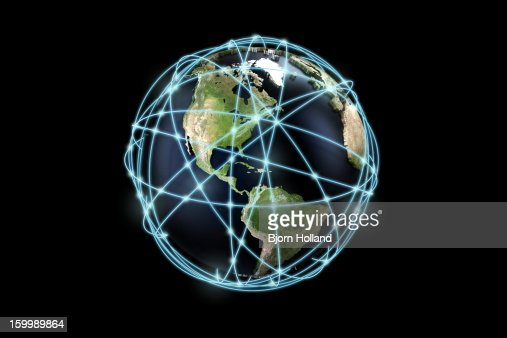 World globe and communication lines, Americas : Stock Illustration