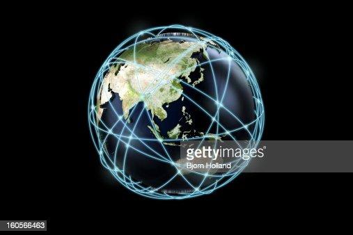 World globe and communication lines : Stock Illustration