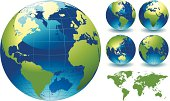 """=""""World Globe Map of the Earth. This is a stylised editable EPS file of a globe of the world. This file also includes a highly detailed world map traced manually in Illustrator CS3 and supplied as I"
