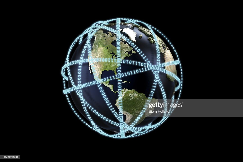 World globe surrounded by binary code : Stock Illustration