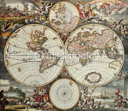 hemispheres vieille carte du monde illustration thinkstock. Black Bedroom Furniture Sets. Home Design Ideas