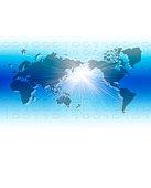 World map, binary code and light beam, CG