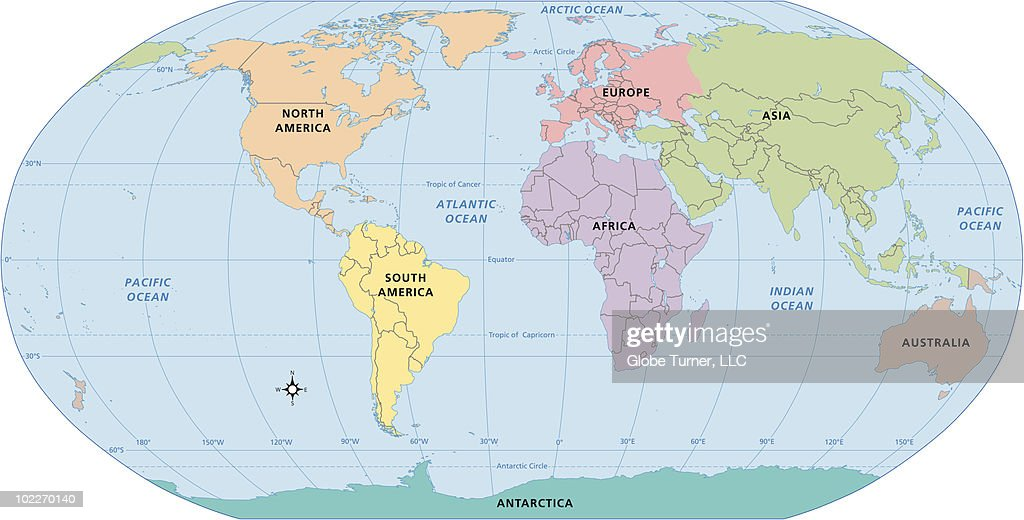 World Map Continent Labels Vector Art Getty Images - The world map with labels