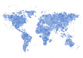 World map made with watercolour drops on white paper