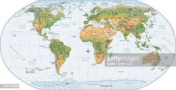 World map, physical