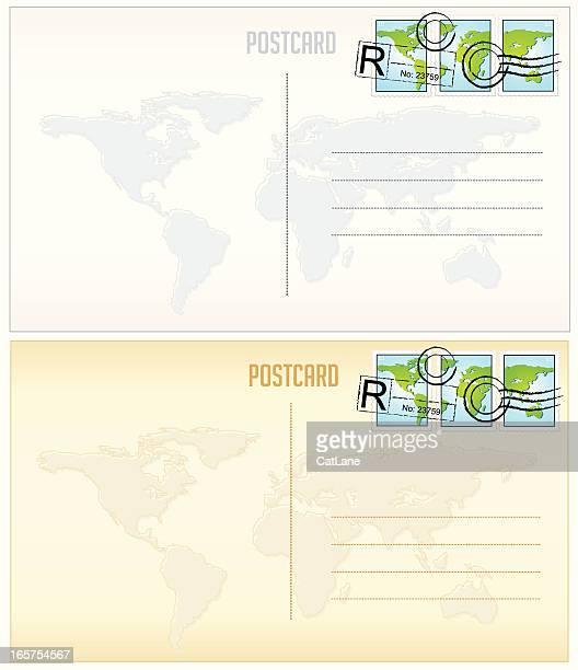 Weltkarte Postkarten und Briefmarken