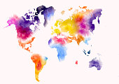 world map colorful watercolor paint