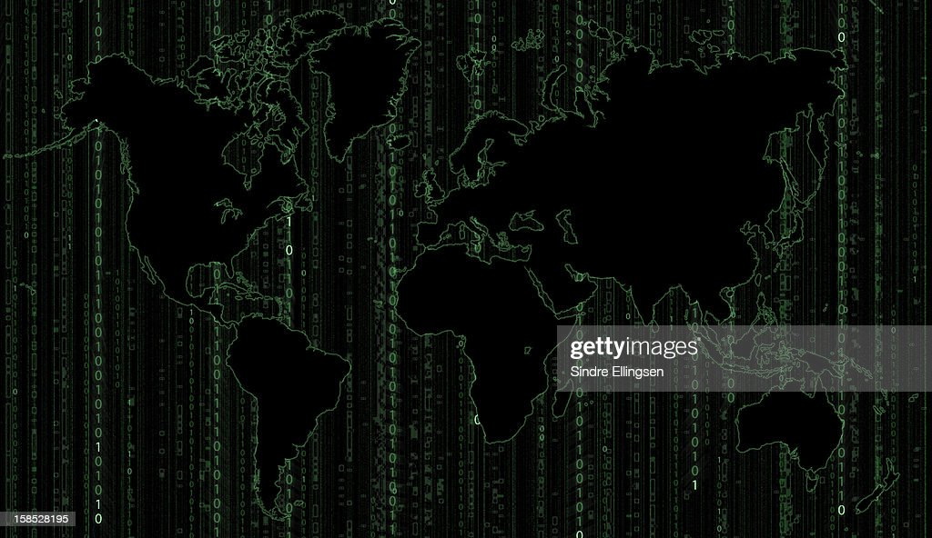 World map with binary code background : Stock Illustration