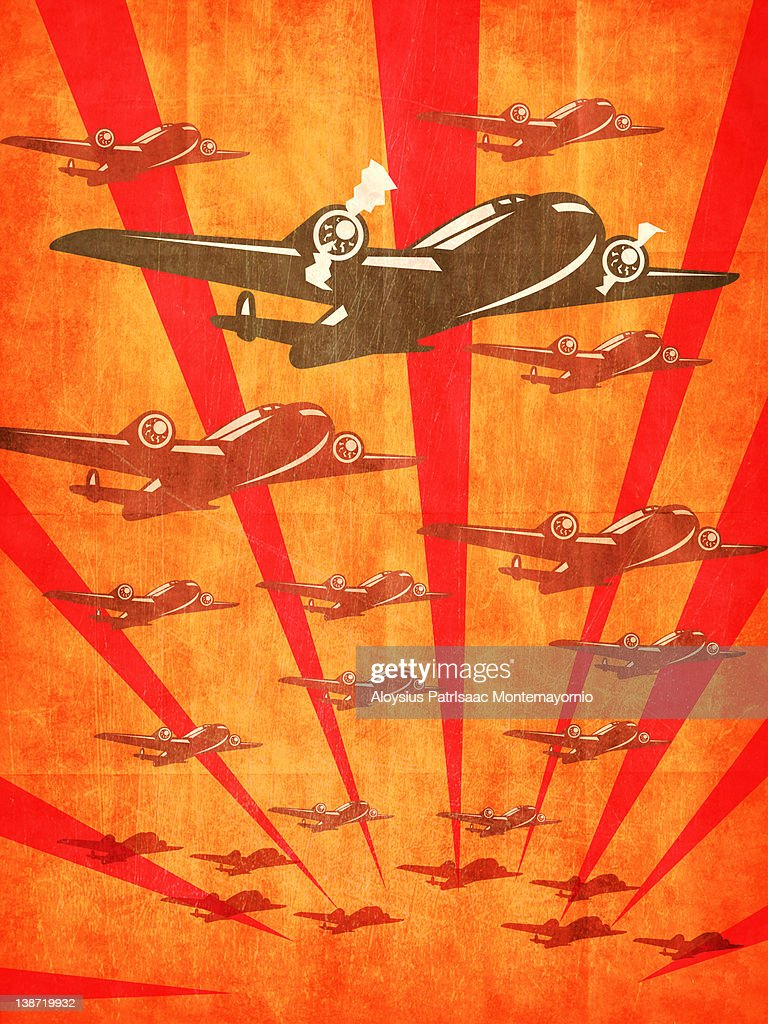 World War II Bomber Planes : Stock Illustration