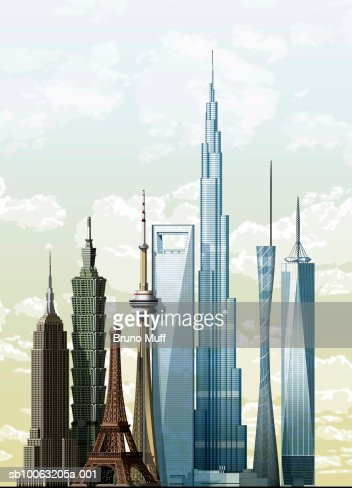 World's eight most famous buildings : Stock Illustration
