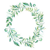 Watercolor leaves branch wreath. Wteath with greens,branch,leaves,foliage.Perfect for wedding,quotes,Birthday and invitation cards,greeting cards,print,blogs,thanksgiving cards,logos and more