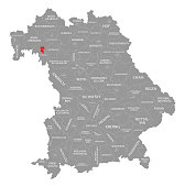Wurzburg city red highlighted in map of Bavaria Germany