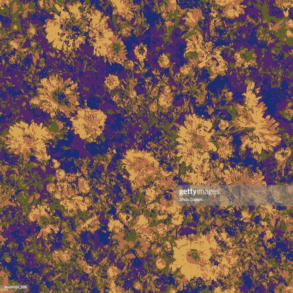 Yellow flower camouflage pattern : Stock Illustration