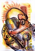 high resolution scanned of yellow robot side view made with watercolor on paper painting