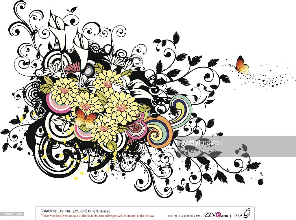 Yellow spring flowers with design element : Vector Art