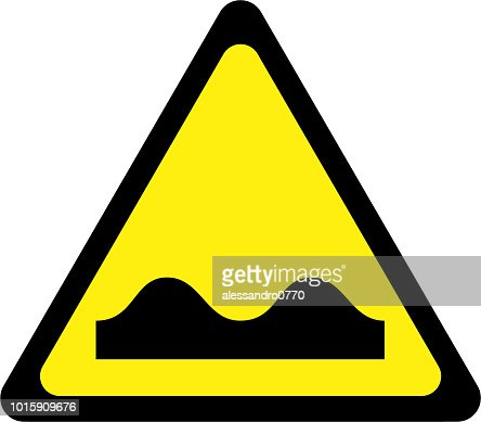 Yellow warning sign with road bumps symbol : stock illustration