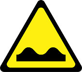 Yellow warning sign with road bumps symbol