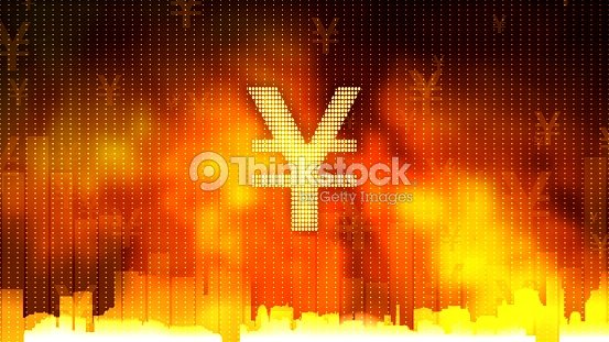 Yen Sign Against Fiery Background Gold And Currency Reserves