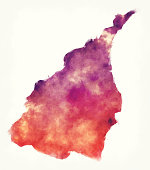 Yilan County watercolor map of Taiwan in front of a white background