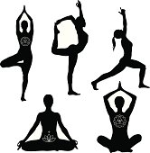 'Yoga poses: lotus, lord of the dance, warrior I and tree pose.'
