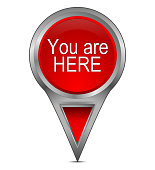 red you are here map pointer – 3d illustration