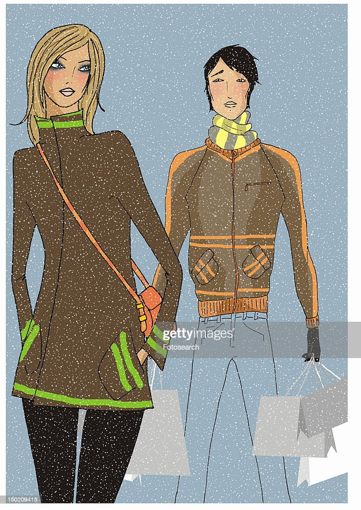 Young couple on a shopping trip in the snow : Stock Illustration
