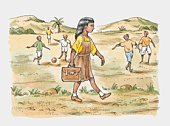 A young girl with a school satchel going to school while others play football