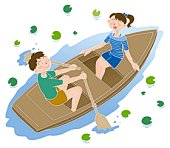 Young man and woman on a boat, Illustration