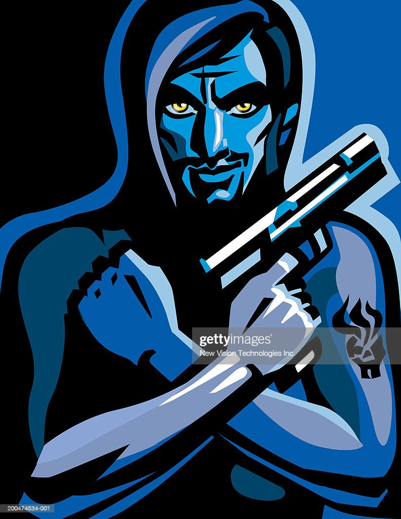 Young man holding gun, arms crossed : Stock Illustration