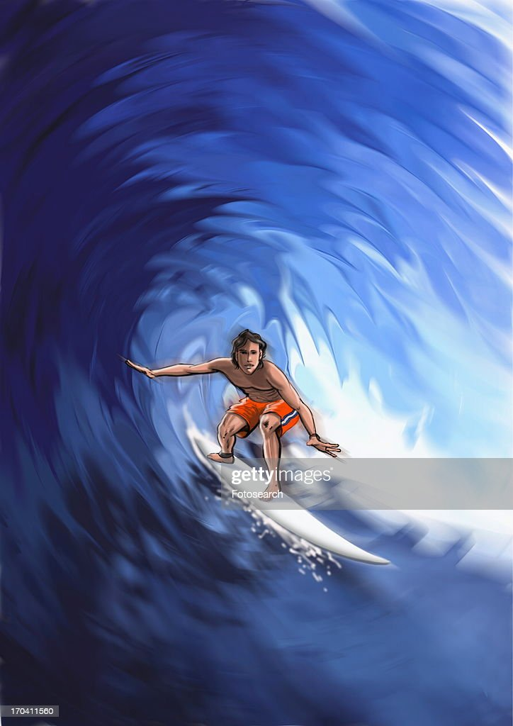 Young man surfing a wave : Stock Illustration