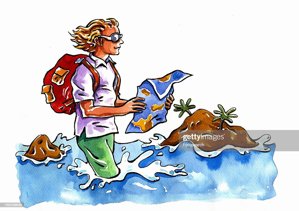 Young man wearing his clothes wading in the sea with a map and his backpack : Stock Illustration