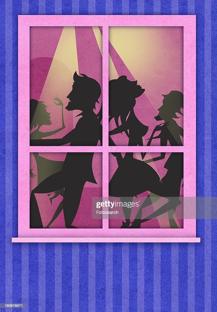 Young people seen through a window dancing : Stock Illustration