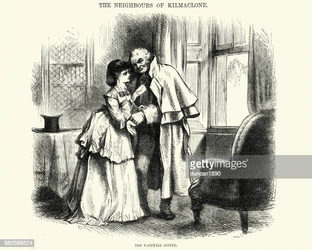 Young victorian woman giving a letter to a mature man