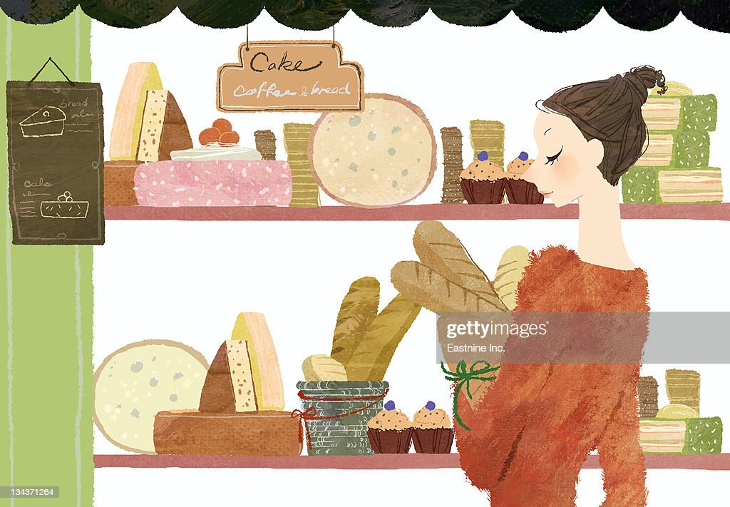 Young woman carrying baguettes from bakery : Stock Illustration