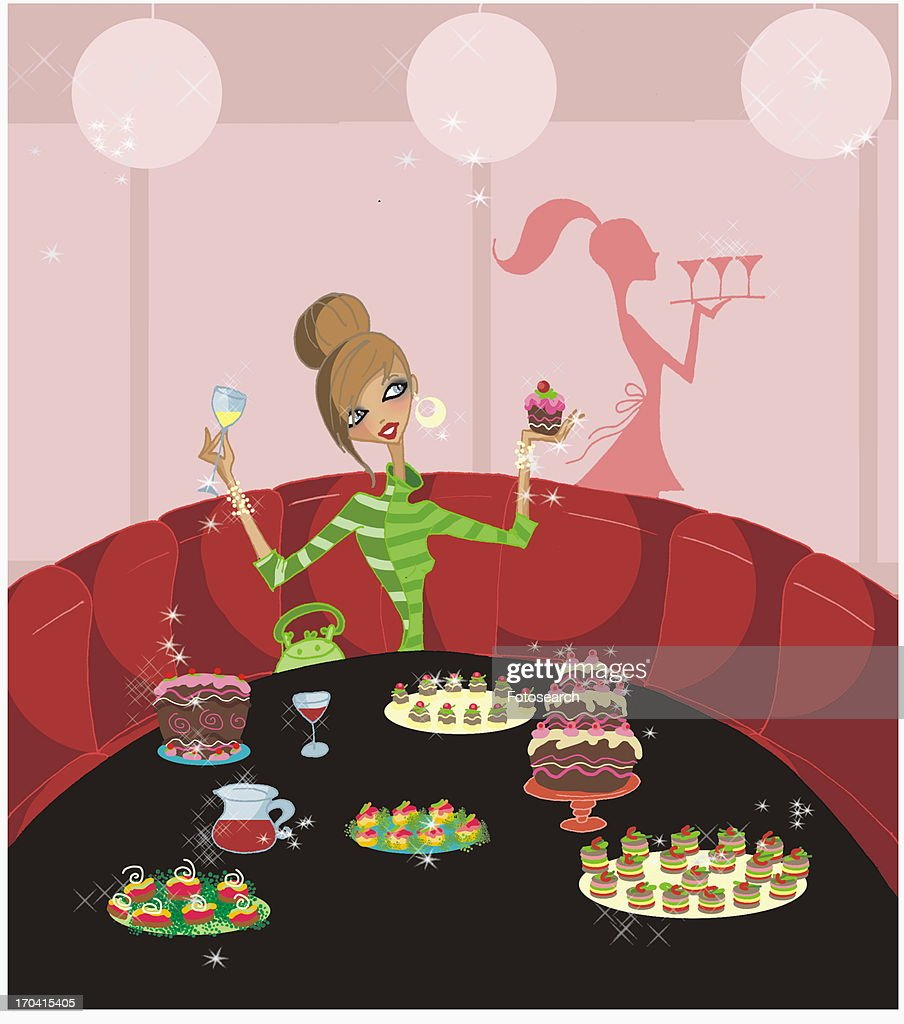 Young woman celebrating alone with a table full of sweets : Stock Illustration