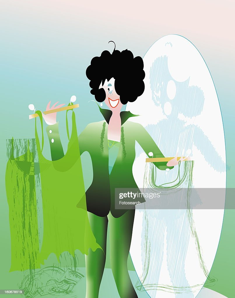 Young woman choosing clothes in a store : Stock Illustration