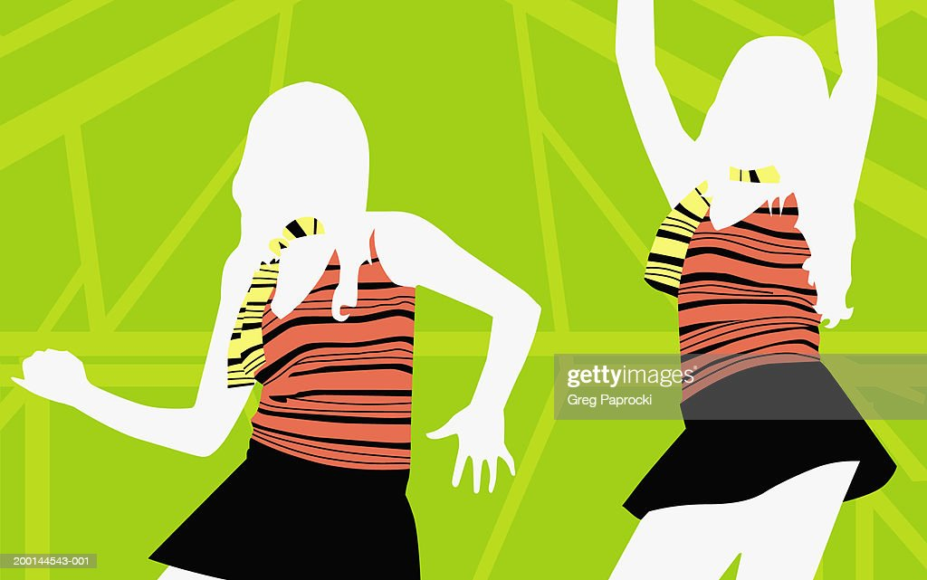 Young woman dancing : Stock Illustration
