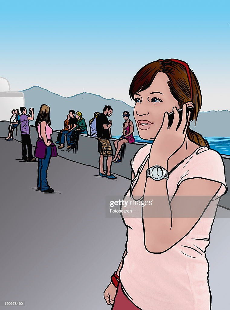 Young woman hanging out on cell phone : Stock Illustration