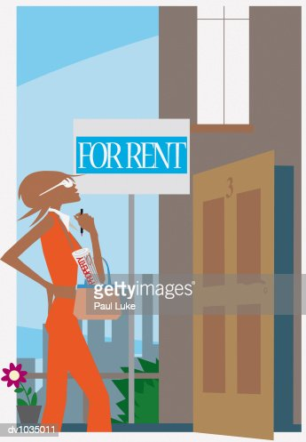 Young Woman Looking at a House for Rent : Stock Illustration