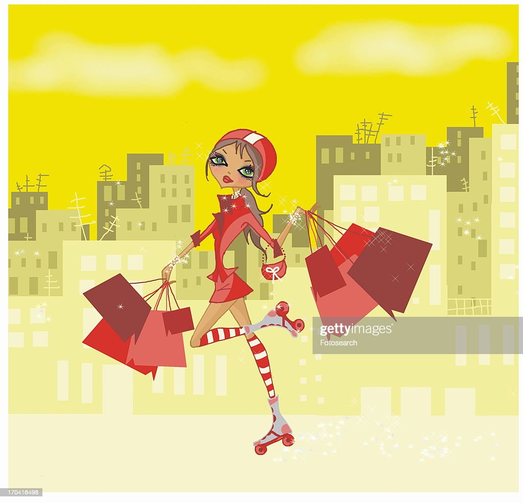 Young woman on rollerskates holding many shopping bags : Stock Illustration