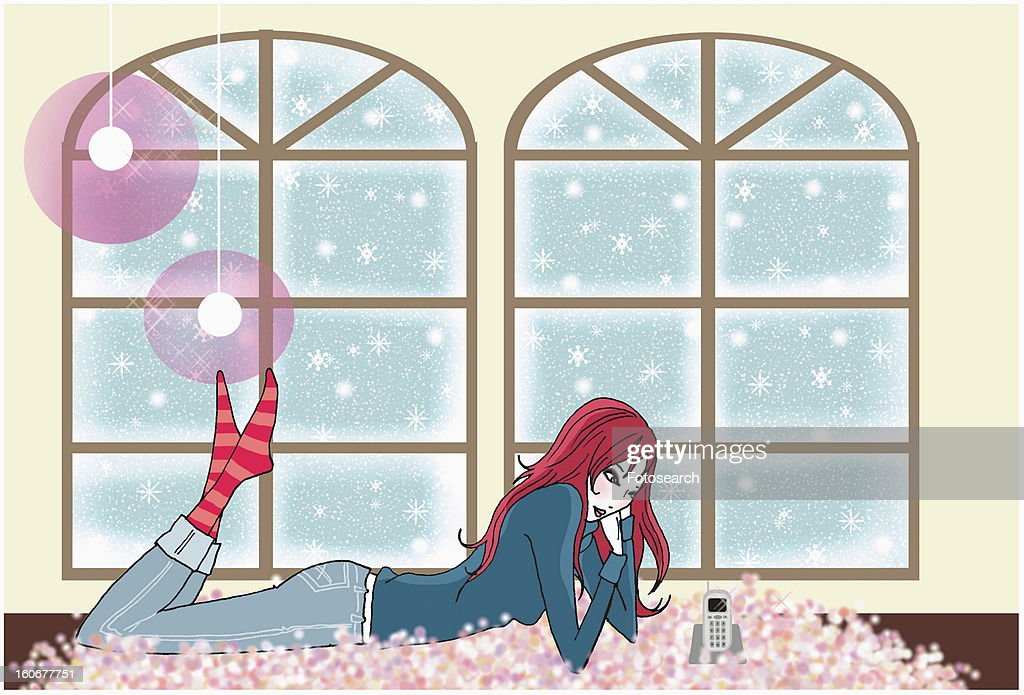 Young woman on rug by window waiting for the phone to ring : Stock Illustration