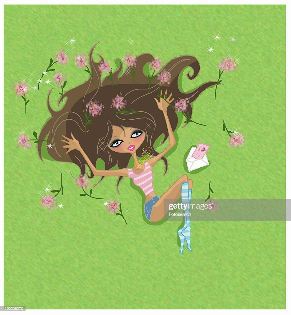 Young woman opening Valentine's card : Stock Illustration