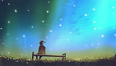 young woman sitting on a bench against beautiful sky, digital art style, illustration painting